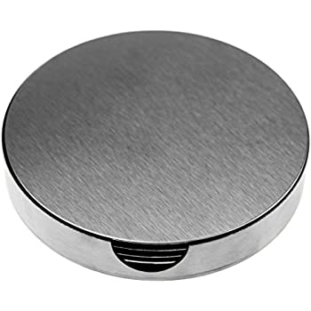 SINDBIN 6pc Stainless Steel Drink Coasters with Holder Table Coasters for Glasses Bar Drinks  sc 1 st  Amazon.com & Amazon.com | SINDBIN 6pc Stainless Steel Drink Coasters with Holder ...