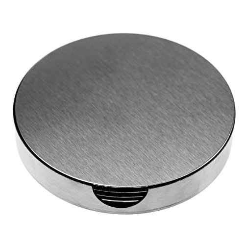 SINDBIN 6pc Stainless Steel Drink Coasters with Holder, Table Coasters for Glasses, Bar Drinks, Mugs, Coffee Cups ()