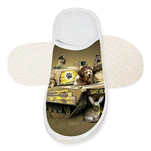 Kelly Heroes Tank Dog Unisex Adult Cotton House Slippers Keep Warm House Crocs Lover 10 B(M) US