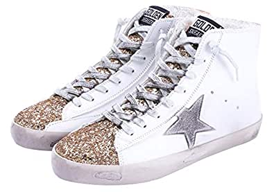 FENIKUSU Women's Flat Sneakers High Top Glitter Fashion Star Lace up Casual Shoes Wide Width (US 5.5, Gold)