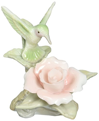 Hummingbird Statue (Cosmos 96441 Fine Porcelain Mini Hummingbird with Rose Figurine, 3-Inch)