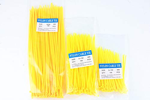 300pcs Nylon Cable Ties inculdes 3sizes 3100 3150 3250 yellow Color National Standard Self-locking Plastic Wire Zip Tie