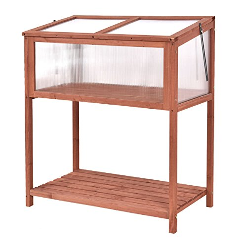Greenhouse Garden Portable Wooden Cold Frame Raised Flower Planter Protection by  (Image #2)