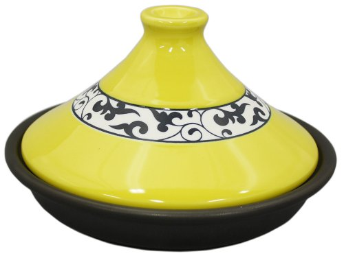 Porcelain tagine pot 21cm (heat-resistant ceramic plate) yellow arabesque ID-09-02 (Japan import / The package and the manual are written in Japanese) Unknown
