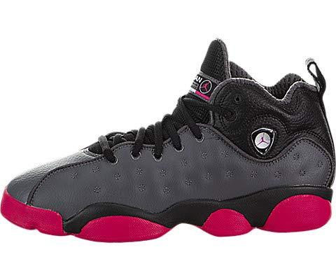 Jordan Nike Kids Jumpman Team II (GS) Dark Grey/Vivid Pink/Blk Basketball Shoe 6.5 Kids US (Girls Basketball Shoes Air Jordan)