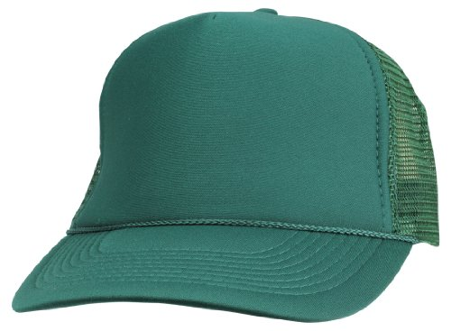Foam Trucker Hat Cap - DALIX Plain Trucker Hat in Dark Green