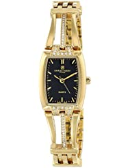 Charles-Hubert, Paris Womens 6824-G Classic Collection Gold-Plated Black Dial Watch