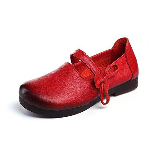 Zapatos de Mujer Goma Cuero Mamá Zapatos Primavera Otoño Comodidad Pisos Plana Talón para al Aire Libre Un
