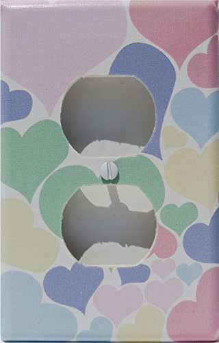 Pastel Heart Outlet Switch Plate Cover / Nursery Wall Decor in Pink, Blue, Purple, Yellow, and Green