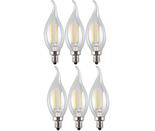 YATE LED Tungsten Filament Candelabra Light Bulb, Candle ...