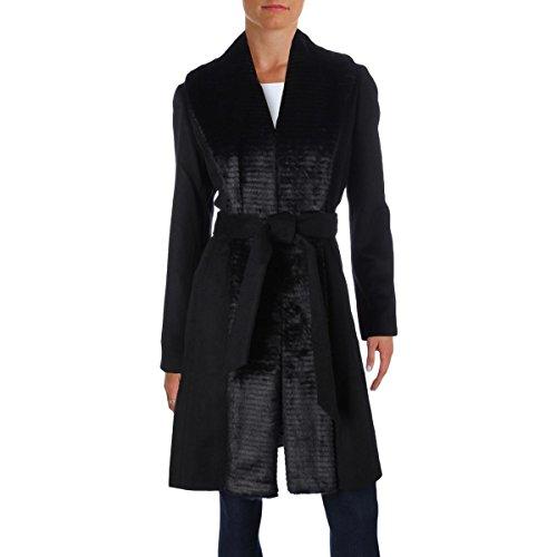Ellen Tracy Womens Faux Fur Tuxedo Coat Black (Ellen Tracy Black Wool)