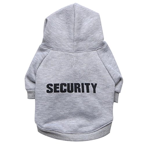 Dog Security Printed Sweat Hoodie, Cool pet Clothing, pet Apparel Street Fashion, Small Dog Sweat top Msize