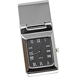 Square Black Watch Stainless Steel Hinged Money Clip