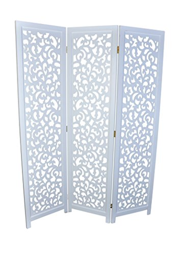 3 Panel Solid Wood Screen Room Divider, White Color with Decorative Cutouts, by Legacy Decor
