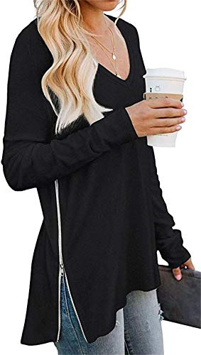 Women's Long Sleeve V-Neck Casual T-Shirt Side Split with Side Zipper Loose Tunic Tops Blouse Shirts