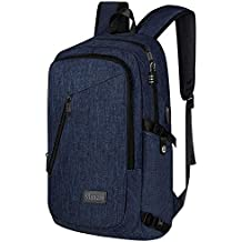 College Backpack, Business Slim Laptop Backpack, Mancro Anti-theft Water Resistant Computer Backpack w/USB Charging Port, Lightweight Travel Bag Fit 15.6 Inch Laptops & Tablets in Dark Indigo