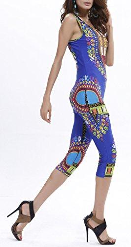 COMVIP - Camiseta sin mangas - skinny - Floral - Sin mangas - para mujer Azul