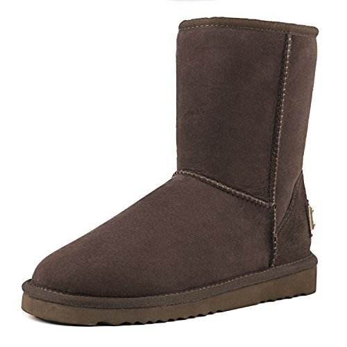 AUSLAND Women's Waterproof Snow Boot,Mid-Calf Sheepskin Winter Shoe 9125 Chocolate 7.5US 38 ()
