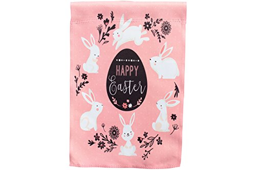 Happy Easter Egg and Bunnies; Pink Garden Flag; 12 inches by