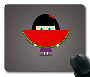 Girl With Watermelon Easter Thanksgiving Personlized Masterpiece Limited Design Oblong Mouse Pad by Cases & Mousepads
