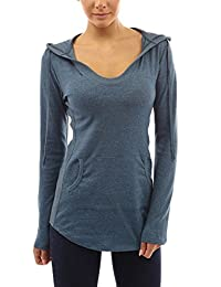 Smibra Womens Solid Long Sleeve Empire Waist Hoodies Pockets Shirt Blouse Top