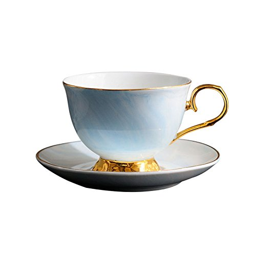 Ceramic Tea Cup and Saucer Set, Marble Pattern and Gold/Silver Border, Art Style Coffee Mugs Set, Handmade Procelain Tea Coffee Cup - 10oz -