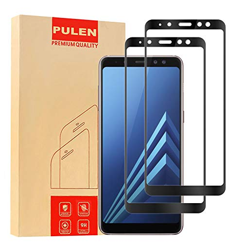 [2-Pack] Samsung Galaxy A8 Plus 2018 Screen Protector, PULEN 0.3MM Slim And 9H Hardness Tempered Glass [Anti-Scratch] [Bubble Free] Extreme Hardness with Lifetime Replacement Warranty (Black)