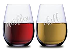 """Everyone knows the phrase """"Netflix and Chill"""". It symbolizes the at-home date of the new millennial era. Bring some fun back to date nights with these witty lead-free stemless wine glasses. This matching set of 2 lead-free glasses will make m..."""