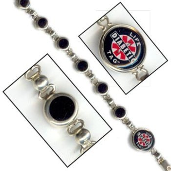 LIFETAG Black Onyx and Sterling Silver Medical ID Bracelet FREE STANDARD SHIPPING ()