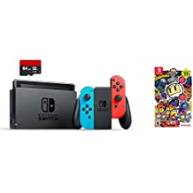 Nintendo Switch 3 items Bundle:Nintendo Switch 32GB Console Red and Blue Joy-con,64GB Micro SD Memory Card and Super Bomberman R