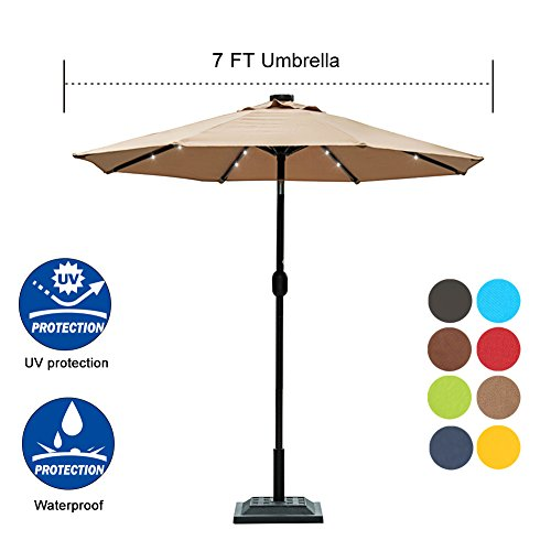 - Sundale Outdoor 7 ft Solar Powered 24 LED Lighted Patio Umbrella Table Market Umbrella with Crank and Push Button Tilt for Garden, Deck, Backyard, Pool, 8 Steel Ribs, Polyester Canopy (Tan)