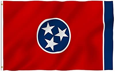 ANLEY [Fly Breeze] 3x5 Foot Tennessee State Polyester Flag - Vivid Color and UV Fade Resistant - Canvas Header and Double Stitched - Tennessee TN Flags with Brass Grommets 3 X 5 Ft