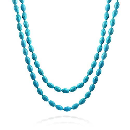 Bling Jewelry Double Wrap Long Strand Elliptical Bead Compressed Turquoise Necklace 46 Inches