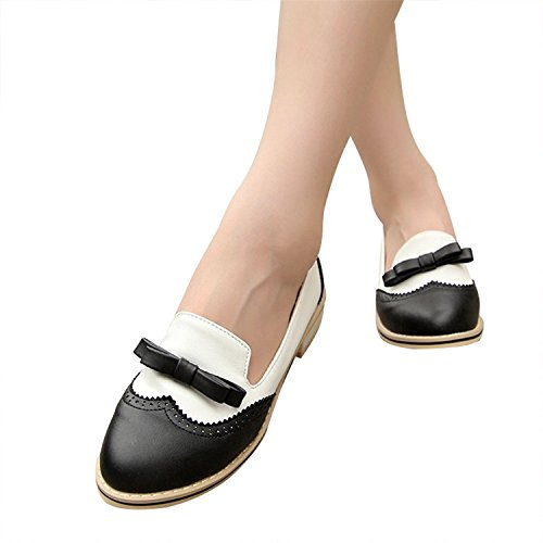 leanna Spring Summer Fashion Vintage Brogue Womens Low Heel Sweet Bowknot Oxfords Shoes Candy Color Black VeIUgBw3H4