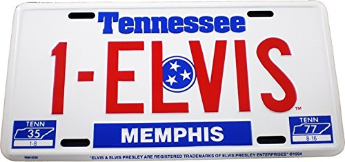 Taylor Specialties Elvis Presley #1 Memphis Tennessee Tag Metal License Plate [White - Car/Truck] ()
