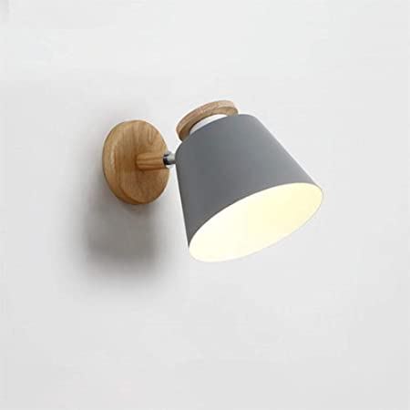 Qiulao Lamp Wall Lamp Sconces Outdoor Lamp Nordic Adjustable Led Wall Lamps For Bedroom Wooden E27 Reading Wall Lamp Wall Mounted Metal Night Lighting Color Gray Amazon Co Uk Kitchen Home