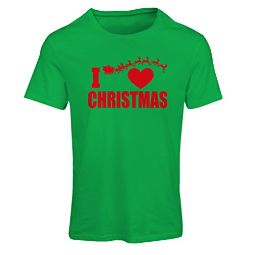 T Shirts for Women I Love Christmas - Xmas Outfits, Santa and The Reindeers (X-Large Green Multi Color) -