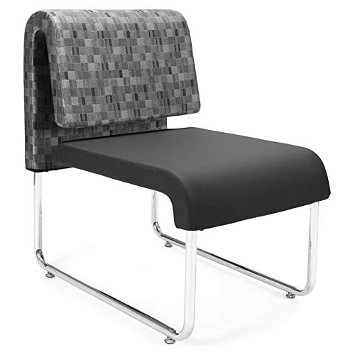 OFM Uno Lounge Chair in Nickel and Black (Set of 2)