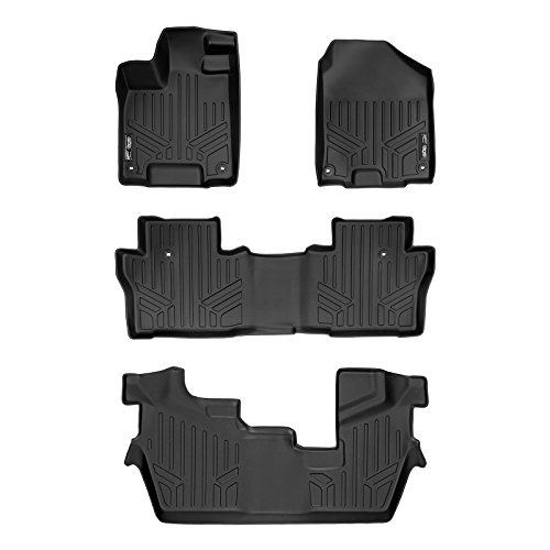 MAXLINER Custom Fit Floor Mats 3 Row Liner Set Black for 2016-2019 Honda Pilot 8 Passenger Model (No Elite Models) (Car Mats That Cover The Whole Floor)