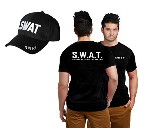 Wicked Fun Adult Swat Team T-Shirt & Cap Set Kit Fancy Dress Costume Police Fbi Tactical Military (Men: )