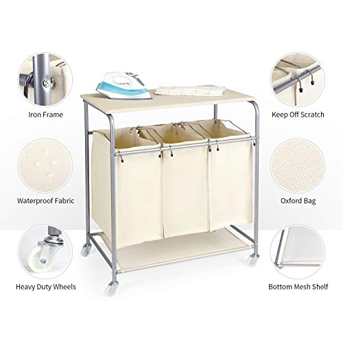 SPACE INNOVATIONS Laundry Hamper Sorter, Heavy Duty 3 Bags Rolling Laundry Sorter Cart with Ironing Board and Folding Station, Beige, -