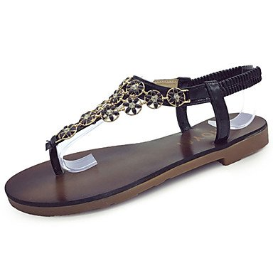 Negro de Goma Confort Mujer Plano Verano Paseo Sandalias cms Dorado Gold LvYuan Confort 2'5 Menos Tacón 7xv4qYqw