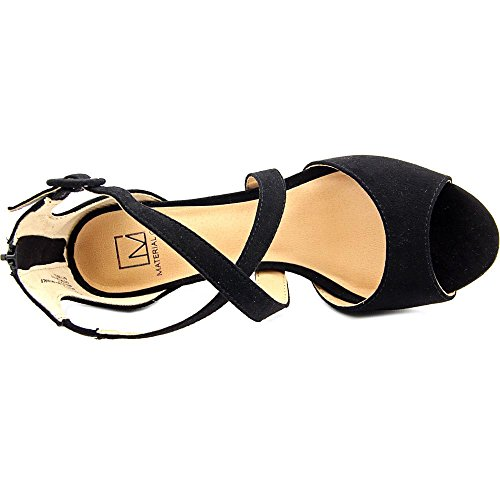 Sandals Womens Toe Black Material Strap Suede Girl Helenah Open Casual Ankle z5qwOaqHx