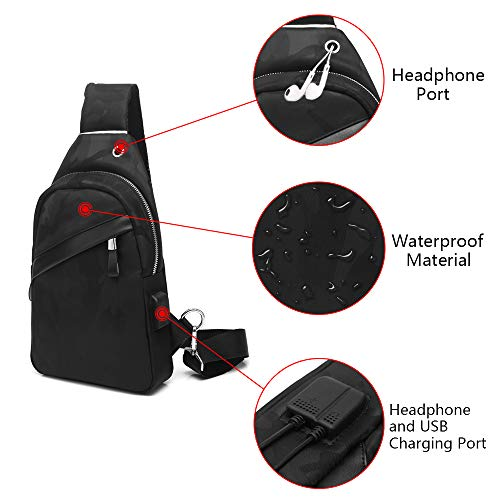Funtor Sling Backpack, Anti Theft Crossbody Bag Casual Chest Shoulder Bodypack Lightweight Waterproof Daypack with USB Charging Port for Men and Women Black