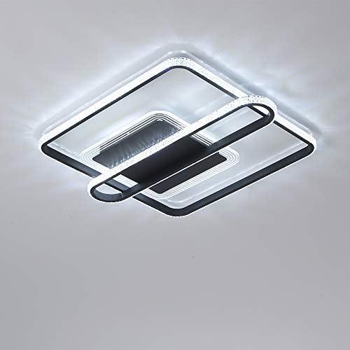Modern Ceiling Light 18.5 inch LED Lighting Fixtures Ceiling Crystal Flush Mount 38W Black Chandelier