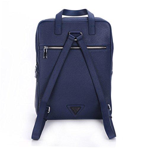 ZLYC moda mochila para portátil de piel auténtica bolso de mano bolso Messenger Bag azul