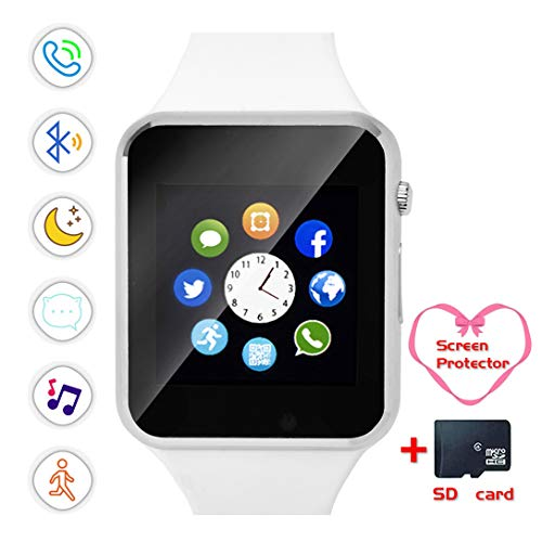 Smartwatch, Bluetooth Smart Watch Touch Screen Unlocked Mini Phone with Card Slot Make Call and Message Sleep Tracker with Pedometer Camera Music Play Compatible with Android iOS Phone Men Women