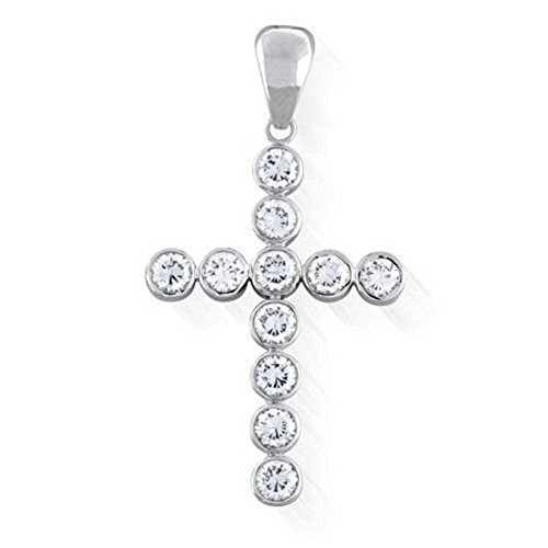 - Beaute Fashion 925 Sterling Silver Bling Cross, CZ Bezel Set Bubble Cross Pendant Necklace with Chain