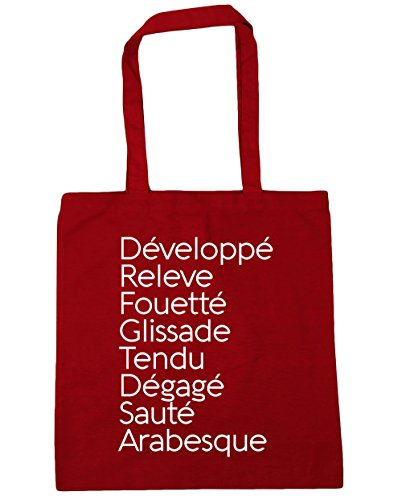 Arabesque litres Glissade Ballet Développé Releve Bag Classic x38cm Red HippoWarehouse Sauté Tote 42cm Gym Terms Tendu Dégagé Beach Shopping Fouetté 10 t0UwAw