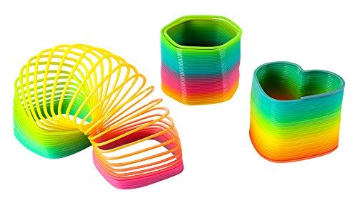 Blue Panda Rainbow Slinky Toy - 3-Pack Plastic Slinky, Rainbow Coil Springs in 3 Shapes Kids Birthday Party Favors, Pinata Fillers, Goodie Bags, Square, Hexagon Heart-Shaped, 3.2 x 2.2 inches